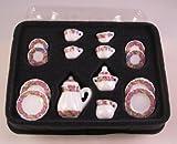 Kaffeeservice Porzellan Rosenranken 17 Teile Puppenhaus Miniatur 1:12