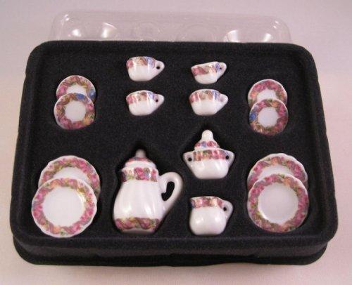 Servizio da caffè in porcellana Rose Ranken 17pezzi casa delle bambole in miniatura 1: 12