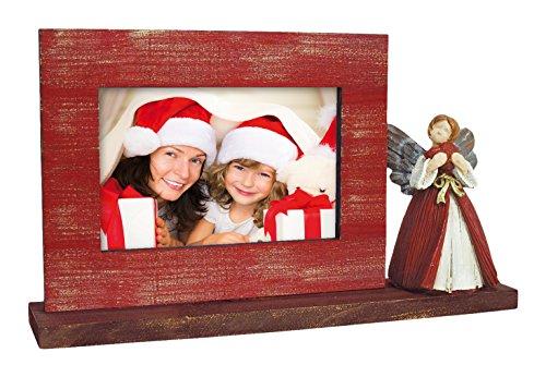 Kuretake UK Ltd. Angel 3 Portafotos Navidad, Madera, Rojo, 27.5x15.8x5.5 cm