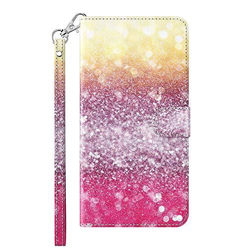 Capa carteira XYX para Motorola Moto G9 Play, capa carteira flip colorida de couro PU com compartimentos para cartão e alça de pulso, rosa glitter