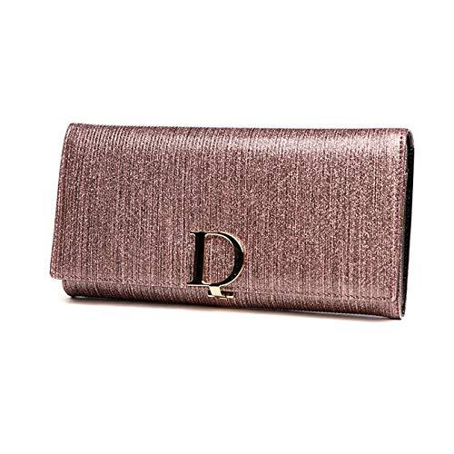Portátil Cartera de larga capacidad de ladies --- billetera de cuero simple y de moda con cremallera, clip de dinero multifunción en la mano, con caja de regalo (7.48x3.94x1.38 pulgadas) Ventana de id