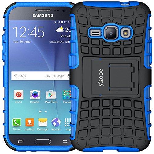 ykooe Handyhülle kompatibel für Galaxy J1 Hülle (2016), (TPU Series) Hybrid Drop Resistance für Galaxy J1 2016 Handys Schutz Hülle mit Ständer (Blau)