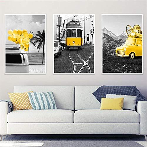Afbeelding met landschappen in zwart en wit Nordic Canvas schilderij Home Decor Wall Art Gold Car Bus balloon poster en druk voor de slaapkamer No Frame-40x60 cm X3