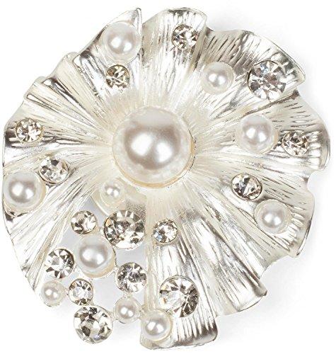 styleBREAKER Muschel Magnet Schmuck Anhänger mit Strass und Perlen für Schals, Tücher & Ponchos, Brosche, Damen 05050032, Farbe:Silber