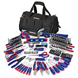 "322-Piece basic tool kit for everyday chores and repairs Chrome vanadium steel tools with heat treated for strength and durability Packed in 18"" Durable nylon bag for easy and flexible storage Includes hammer, level, tape measure, utility knife, plie..."