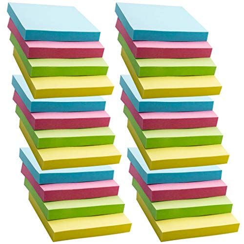 Super Sticky Notes, 24 Pads Self-Stick Notes, 100 Sheets/Pad, Sticky Notes 3x3 inch with Assorted Colors, Post Notes for Study, Works, Daily Life