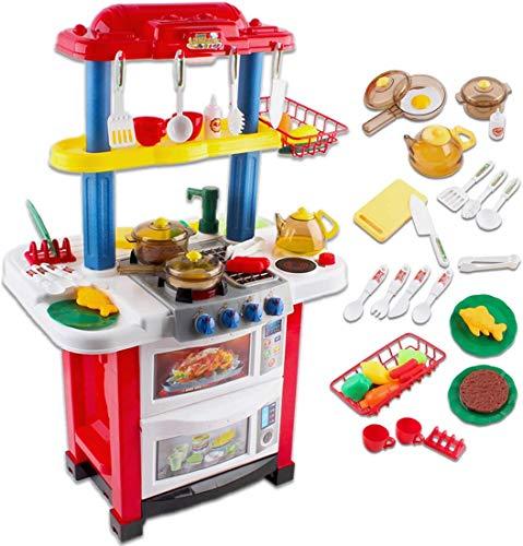 deAO Cocina de Juguete Happy Little Chef Cocinita con Luces, Sonidos, Funciones de Agua Real y...