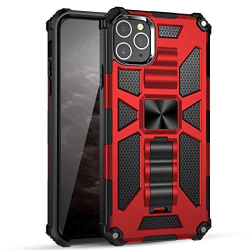 kkkie - Carcasa para Apple iPhone 11 Pro Max, doble capa de PC + TPU Bumper magnético para coche, antigolpes, híbrida, antigolpes, carcasa protectora para iPhone 11 Pro Max rojo Talla única