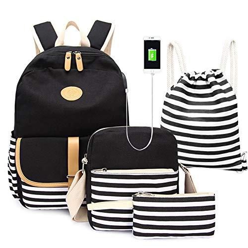 Lumcrissy Canvas School Backpack Sets For Girls, 4 in 1 Lightweight Women Shoulder Bags Combo for School Bookbag