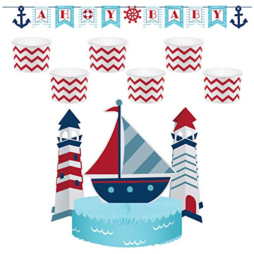 Creative Converting Nautical Baby Party Décor Bundle | Banner, Centerpiece, Cups | Baby Shower, Sailors Decor, Gender Reveal, Birthday Boy Celebration