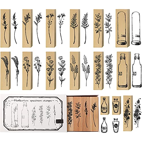 15 Pieces Wooden Rubber Stamp Vintage Wooden Stamps Plant and Flower Decorative Vintage Mounted Rubber Stamp Set for DIY Craft, Card Making, Letters Diary, Craft Scrapbook Painting (Beautiful Style)
