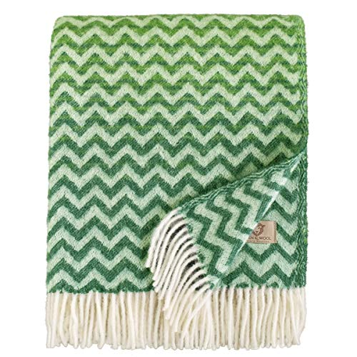 Linen & Cotton Flauschige und Warme Decke Wolldecke Bunt Wohndecke Kuscheldecke Aurora - 100% Reine Neuseeland Wolle, Grün (130 x 170cm) Sofadecke/Überwurf/Plaid Couch Sofa/Schurwolle Blanket
