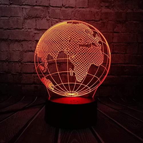LSDAMN Globe World Europe Map 3D LED-Lampe 7 Farben Ändern der Stimmung Glühbirne Kid Desk Dekoration Gadget Geschenk Spielzeug Illusion Lampe