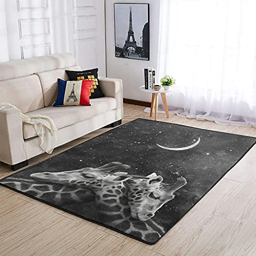 OwlOwlfan Giraffe Moon Carpets Comfy Home Decor Area Rugs Bedside Rugs for Bedroom Floor Sofa Living Room Home Kitchen Cafe Office white 122x183cm