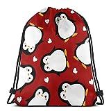 Yuanmeiju Penguin with White Heart Pattern 3D Print Drawstring Backpack Rucksack Shoulder Bags Bolsa de Gimnasio For Adult 17'X14'