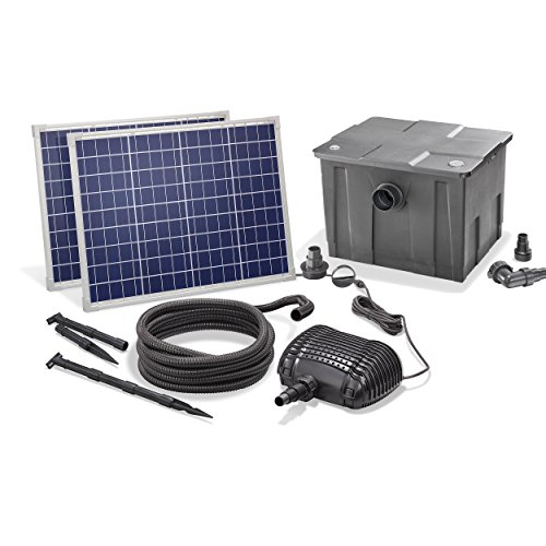 Solar Teichfilterset Premium 3400 l/h Förderleistung 100 Watt Solarmodul 3m Förderhöhe Solarfilter Außenfilter Gartenteich esotec pro Komplettset 101081