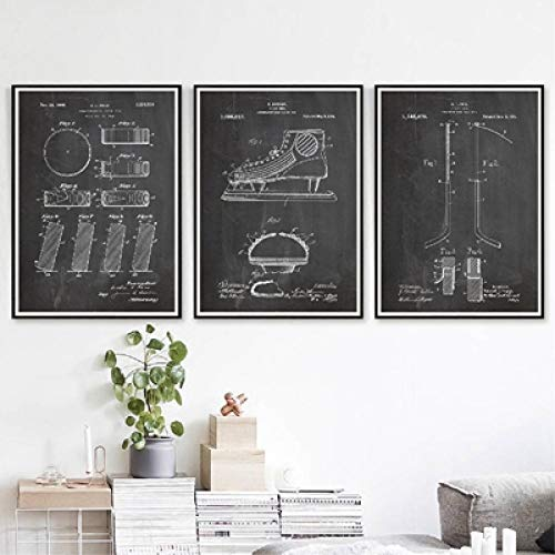 Slagman Hockey Patent Group Blaupausen Vintage Poster Leinwanddrucke Hockeyschläger Puck Malerei Sport 3 Panels Wandkunst Bilder Home Decor-16 X24 X3Panels