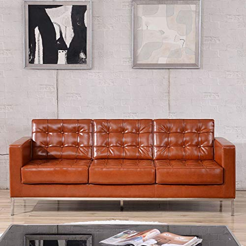 Flash Furniture Cognac Leather Sofa