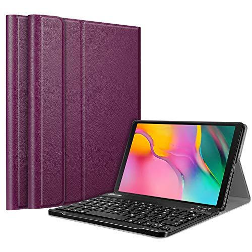 Fintie Tastatur Hülle für Samsung Galaxy Tab A 10.1 2019 SM-T510/T515 Tablet - Ultradünn leicht Schutzhülle mit magnetisch Abnehmbarer drahtloser Deutscher Bluetooth Tastatur, Lila