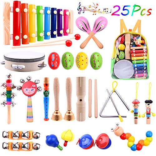 TUPARKA 25 Pcs Baby Musical Instruments Set Toddler Percussion Instrument Toy Wooden Xylophone Glockenspiel Toys for Kid Early Learning Musical Toys Girls Boys Gift with Backpack