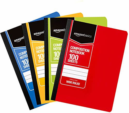 Amazon Basics Wide Ruled Composition Notebook, 100 Sheet, Assorted Solid Colors, 36-Pack