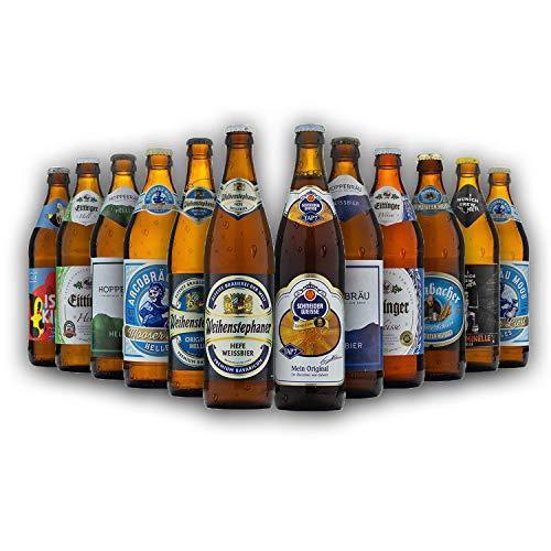 Bayrisches Bier-Geschenk-Set in Bierbox (12x0,5l Bier aus Bayern) | Ein Mix aus verschiedenen Biersorten Bayerns
