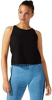 ملابس تدريب حريمي بدون أكمام بشعار مقصوص من ASICS مقاس XL، أسود أداء