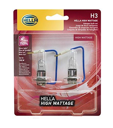 HELLA 130WTB Wattage-130W High Wattage H3 Bulbs, 12V, 2 Pack