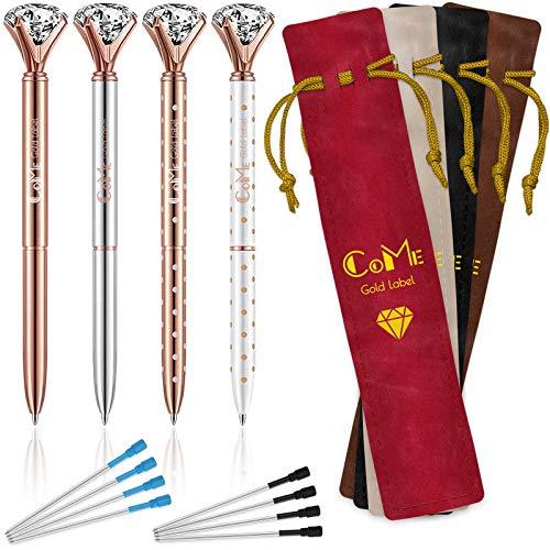 4 PCS Color Diamond Pens Rose Gold - 4 Velvet Bags, 8 Ink Refills Black & Blue, Gift Pen Set for Writing - Fancy Pens for Girls, Crystal Jewel Cute Pens for Women, Girly Ballpoint Pen with Diamond Top