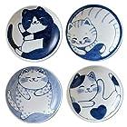 みのる陶器 小皿 ねこちぐら 3寸 4枚入