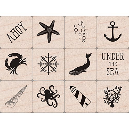 Hero Arts Ahoy Mini Tub Red Rubber Woodblock Stamp Set, 3'X2.5'