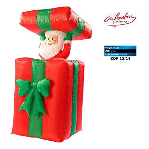 infactory Weihnachtsmann: Selbstaufblasender XXL Santa im Geschenk, 150 cm, animiert (Weihnachtsmann aufblasbar)