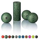 BODYMATE Faszien Mini-Set Midnight-Green - Mini-Faszien-Rolle L15xD6cm, Ball D8cm und Duo-Ball D8cm im Set