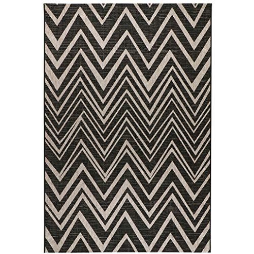 Sisal-Look Flachgewebe Teppich Lux Chevron - Caramel Beige oder Schwarz Grau in Sisal-Optik   pflegeleicht & strapazierfähig   Wohnzimmer Schlafzimmer, Farbe:Schwarz/Grau, Größe:160 x 230 cm