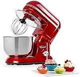Klarstein Bella Elegance - Robot de cocina, Potencia 1300W/1,7PS, 6 niveles, Función pulso, Sistema de amasado planetario, 5 L, Cuenco acero inoxidable, Inclinación, Bloqueo de seguridad, Rojo
