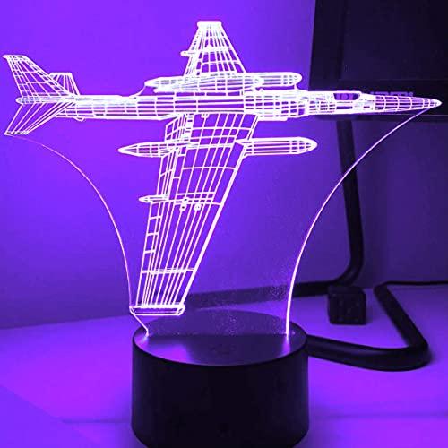 Avión 3D luz luminosa ilusión óptica luminosa 7 interruptor táctil que cambia de color decoración de la mesa luz regalo de Navidad juguete USB