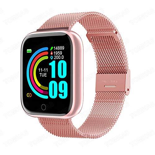 UIEMMY Reloj Inteligente para Mujer y Hombre, Reloj Deportivo a Prueba de Agua, Pulsera de Fitness, rastreador, Monitor de Ritmo cardíaco para Android iOS, Acero Dorado Rosa