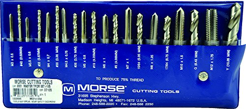 Morse Cutting Tools 37105 Tap and Drill Set, Metric Series, High Speed Steel, 105 Number
