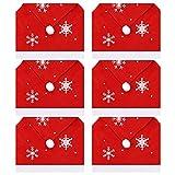GLAITC Coprisedie di Natale,6 Pezzi Coprisedili Natalizi Coprisedili per sedie con Cappello da Babbo Natale Decorazioni Natalizie Fodere per sedie da Pranzo Coprisedili per sedie Natalizie per Natale