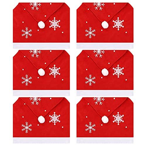 Fundas para sillas de Navidad,Fundas de asiento de Navidad de 6Pcs Fundas traseras de silla de sombrero de Santa Decoración navideña Fundas para sillas de comedor Fundas traseras de sillas de Navidad