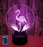 Ilusión Optica 3D Flamenco Luz Nocturna 3D Lámpara 7/16 Colores Cambiantes Control Remoto USB Alimentado Juguetes Decoración Navidad Cumpleaños Regalo