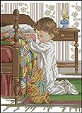 WxBAo Hermoso y encantador kit de punto de cruz contado Una oración antes de dormir Mejor amigo Amigo Bebé y oso de peluche en la cama Dormitorio 04651