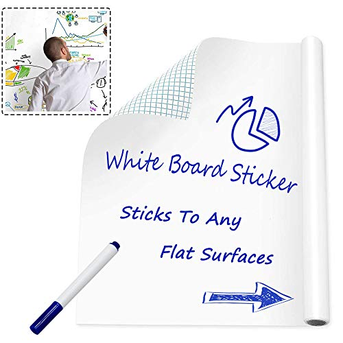 Whiteboard Sticker Vinyl Peel and Stick Self Adhesive Chalkboard Wall Sticker for School/Stores Messages Using/Office/Home with 1 Dry Erase Marker Pen