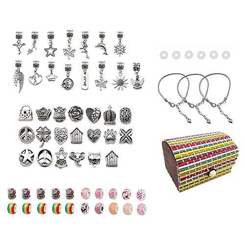 YuKeShop Juego de 65 piezas para hacer pulseras, incluye pulsera de plata, colgante para niñas y adultos y principiantes