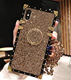 KAPADSON for iPhone 6 plus/6S Plus Luxury Bling Glitter Sparkle Cute Gold Square Corner Soft Shock-Absorption Phone Hold Case Cover with Strap - Gold