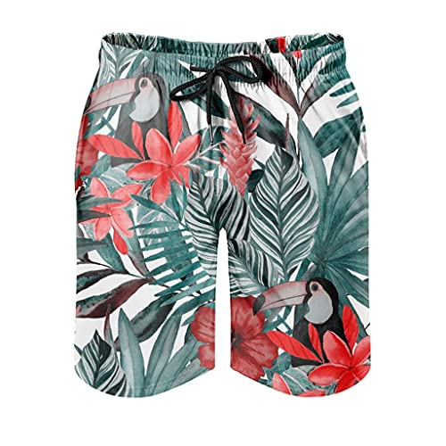 Gamoii Bañador para hombre, diseño de hojas tropicales, flores rojas, plumeria, hibisco, estampado 3D, forro de malla, pantalón corto de deporte, con cordón ajustable, color blanco, L