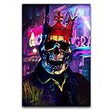 jinshang Máscara de corona de guardián, lienzo de pared, lienzo artístico, impresión moderna, decoración de pared, panel sin marco, para sala de estar, dormitorio, estudio, salones, 30,5 x 45,7 cm