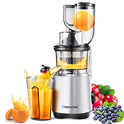 AMZCHEF Professional Slow Juicer, Vegetable & Fruit Juicer Machine, Two speeds, Silent motor ?60dB, Cleaning brush & Juice jug Include, (150 Watts/Silver grey)