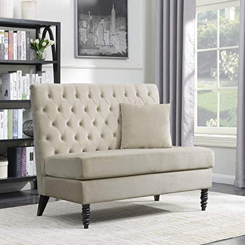 Best BELLEZE Beige Velvet Modern Loveseat Bench Sofa Tufted High Back Love Seat Bedroom Settee