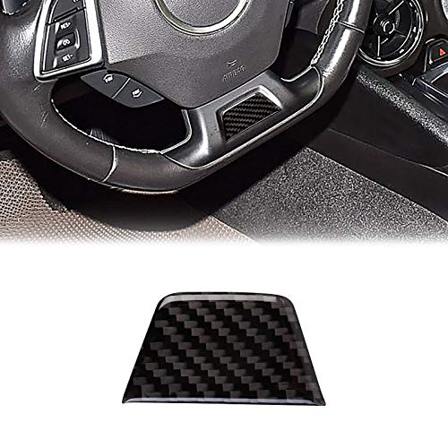 ramuel Compatible with Carbon Fiber Steering Wheel Chin Patch Interior Decoration Sticker for Chevrolet Camaro 2017 2018 2019 2020 (Black)